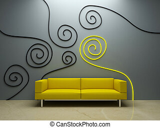 壁, -, 黄色のソファー, デザイン, 内部, 飾られる
