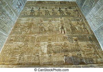 壁, hieroglyphic, 寺院, 絵画, エジプト人