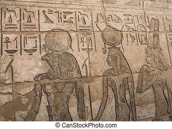 壁, hieroglyphic, 彫刻, エジプト人