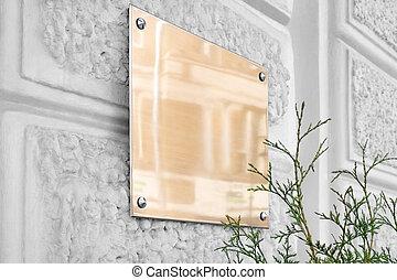 壁, mockup, 灰色, 看板, 金, ブランク, ガラス, textured