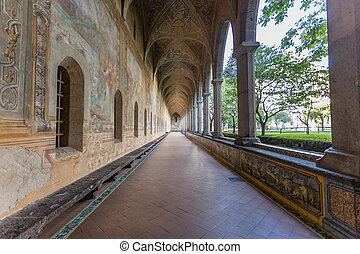壁, santa, clarisses, chiara, 回廊, 修道院, 廊下, campania, 飾られる, ナポリ, イタリア