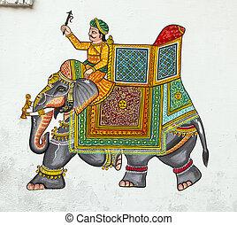 壁, udaipur, 支部, 絵, 家