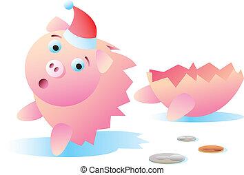 壊される, クリスマス, 銀行, 小豚