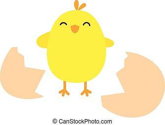 壊される, チキン卵, 幸せ
