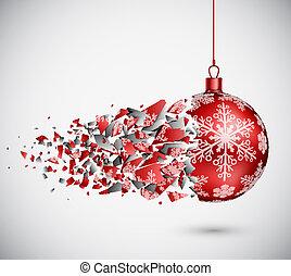 壊される, ボール, クリスマス, 赤