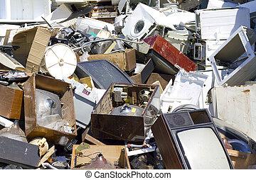 壊される, 古い, ゴミ捨て場, 器具
