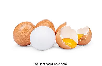 壊される, 白卵, 隔離された, 背景