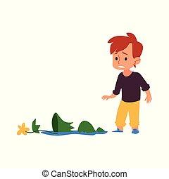 壊れた, 小片, 花, 漫画, ポット, 悲しい, 男の子の 子供, つぼ, 壊される, 有罪である, 悩み, 見る