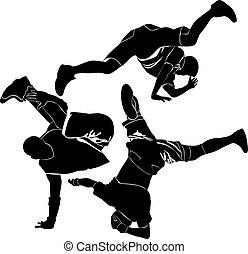 壊れなさい, breakdance, シルエット, ダンス