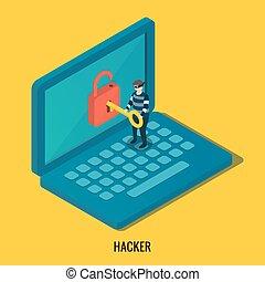 壊れる, computer., ハッカー