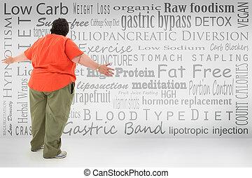 壓倒, 肥胖, 婦女看, 在, 目錄, ......的, 重量, 丟失, 選擇