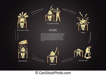 壓力, 后來, 尊敬, 老板, 向上, 集合, 不, 離開, -, 矢量, 很多, 訓斥, 給, 工作, 概念, 工作