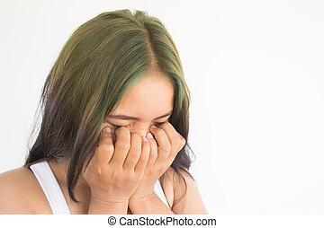 壓力, 婦女, 背景, 白色, 或者, 頭疼