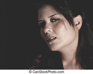 壓力, 年輕, 黑發淺黑膚色女子, 濫用, 所作, 她, 丈夫, 概念, psycholo