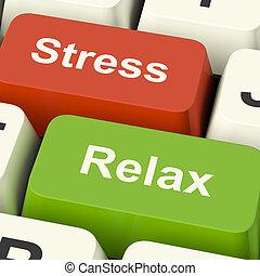 壓力, 放鬆, 計算机鑰匙, 顯示, 壓力, ......的, 工作, 或者, 放松, 在網上