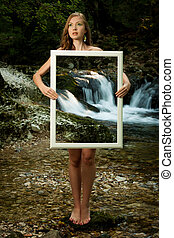 壓力, wman, 站立, 美麗, 自然, 夫人, 框架, -, 年輕, beoutiful, 她, 背景, 做, 透明