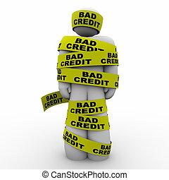 壞信用, 人, 包裹, 磁帶, 窮, 規定值, 得分, 3d, 插圖