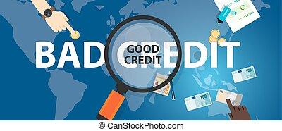 壞信用, vs, 好, 信用, 得分, 貸款, 金融, 選擇, 概念, ......的, 錢管理
