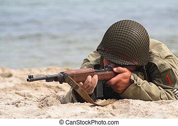 士兵, 美国人, 射击