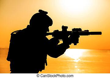 士兵, 黑色半面畫像, 軍隊