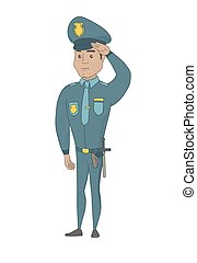 士官, ヒスパニック, saluting., 若い, 警察