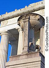 壮麗, ピンク, 大理石, 三脚, 上に, ∥, 扶壁, の前, リンカーンの記念物, 中に, ワシントン, dc., ピンク, 大理石, 三脚, の, リンカーンの記念物, 中に, 私達, capital.