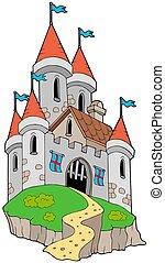 壯觀, 中世紀, 城堡, 上, 小山