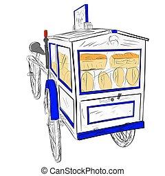 売り手, 木製である, カート, クラシック, bread, レトロ, 単純である, 手, 白, ドロー, ∥あるいは∥, 青, スケッチ, ベクトル