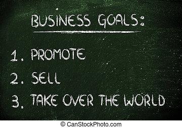 売る, ビジネス, goals:, 上に, リスト, 促進しなさい, 取得, 世界