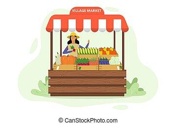 売る, 有機体である, 農場, 農夫, 新たに, 収穫, 幸せ