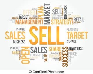 売る, 雲, 概念, 単語, ビジネス