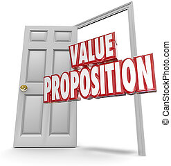 売る, 顧客, ドア, 値, 提案, 言葉, 開いた, 赤, 3d