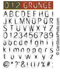 壷, セット, グランジ, アルファベット