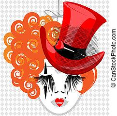 変人, イメージ, 帽子, 赤, 貴婦人