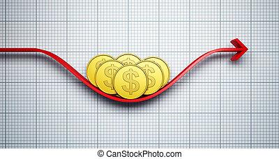 変化する, レート, ドル, 交換