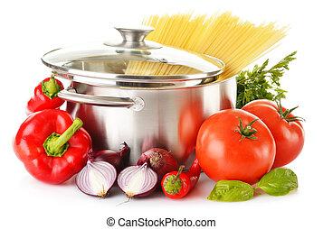 変化, ステンレス食器, ポット, 未加工, スパゲッティ, 野菜