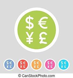 変換器, 交換, お金の 記号, 印, 通貨, ラベル, アイコン