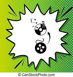 変換器, 白, 黒, ビデオ, popart, 緑の背景, アイコン, 印。, オーディオ, spots., illustration., はね返し