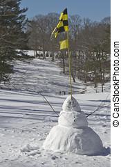 変, コース, ゴルフ, 冬, 雪だるま