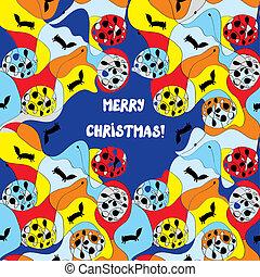変, パターン, -, デザイン, メリークリスマス, カード