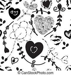 変, パターン, 黒, seamless, 花の意匠, 白