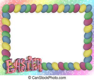 复活節蛋, 框架, 或者, 邊框, 3d