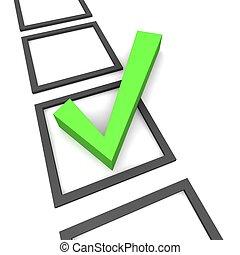 复選標記, 被隔离, 上, white., 3d, 提供, illustration.