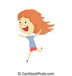 夏の 子供, カラフルである, 特徴, 休暇, イラスト, 漫画, 屋外, ベクトル, 活動, 女の子, 動くこと, 幸せに微笑する