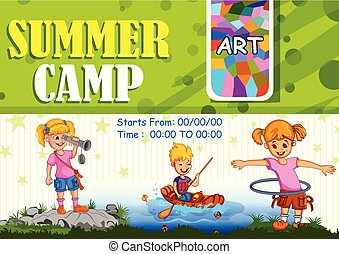 夏の 子供, キャンプ, 砂, 作成, 城