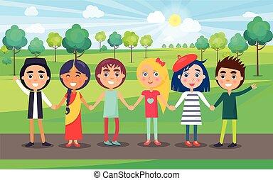 夏の 子供, グループ, multicultural, 公園, 味方
