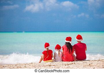 夏の 子供, 家族, 2, 休暇, サンタの 帽子, 幸せ