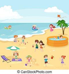 夏の 子供, 砂, children., 浜, 遊び