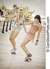 夏の 楽しみ, 女の子, 健康, skateboards.