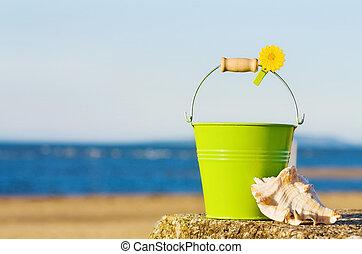 夏天嬉戲, 在, the, 美麗, 海灘。